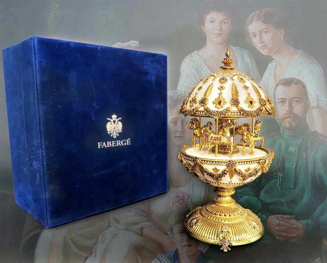 Large Faberge Imperial Musical Carousel Egg