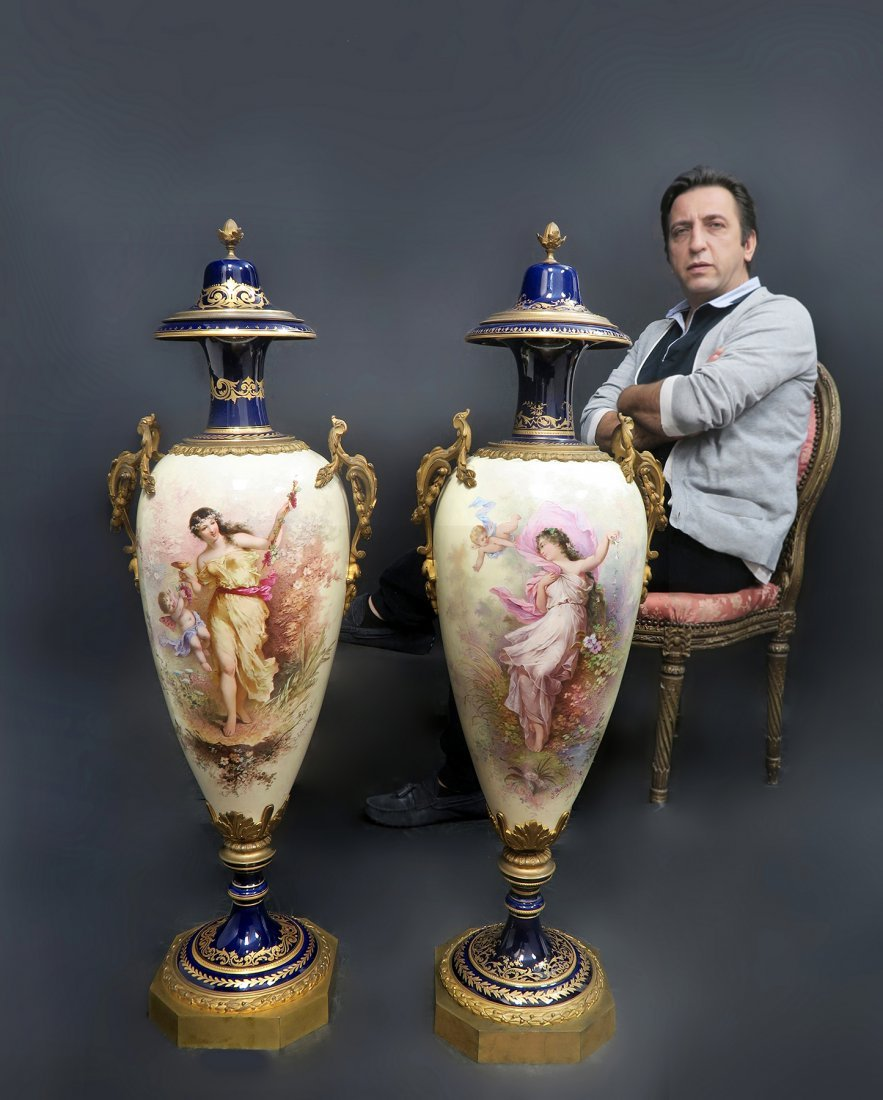 Monumental Pair of French Sevres Vases