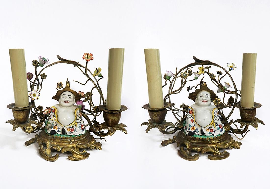"A Pair of ""Meissen"" Chinoiserie Candelabras. 19th C."