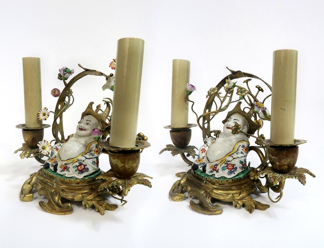 "A Pair of ""Meissen"" Chinoiserie Candelabras. 19th C. - 2"
