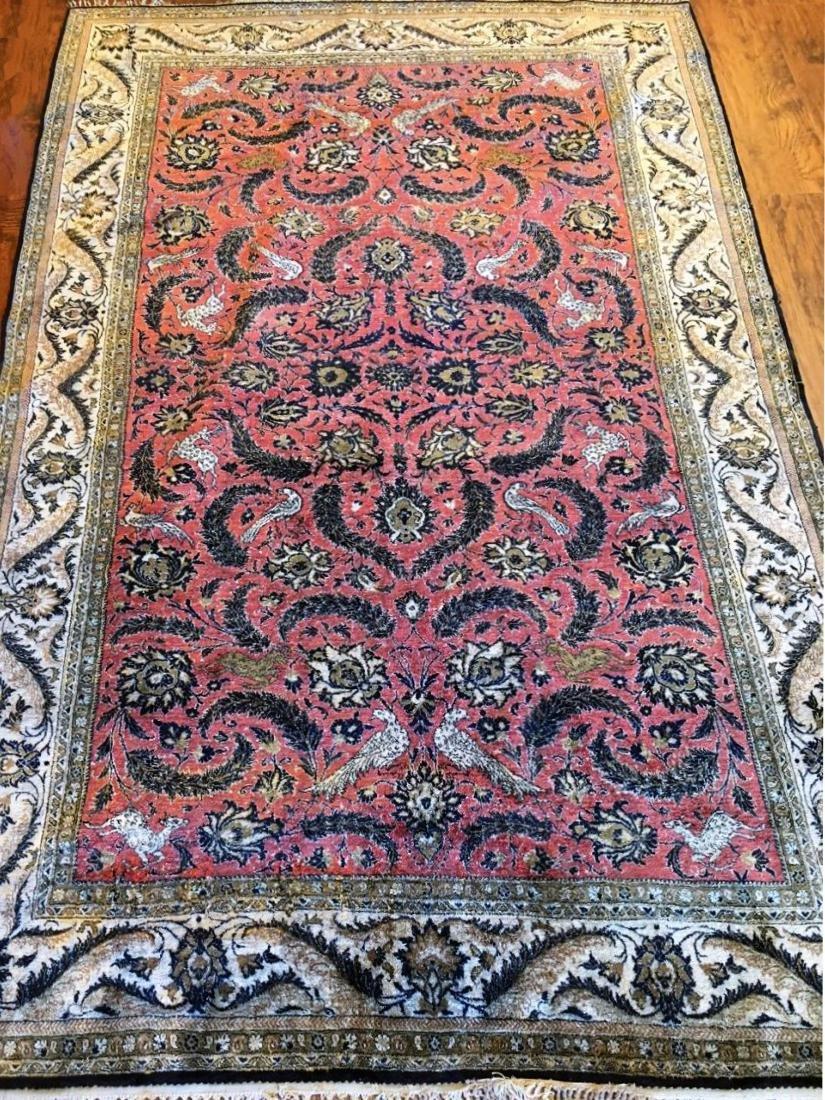 Semi-Antique Silk Persian Rug, Qom
