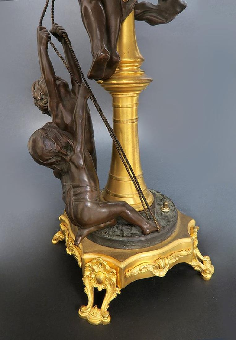 19th C. French Figural Bronze Lamp. Signed - 5