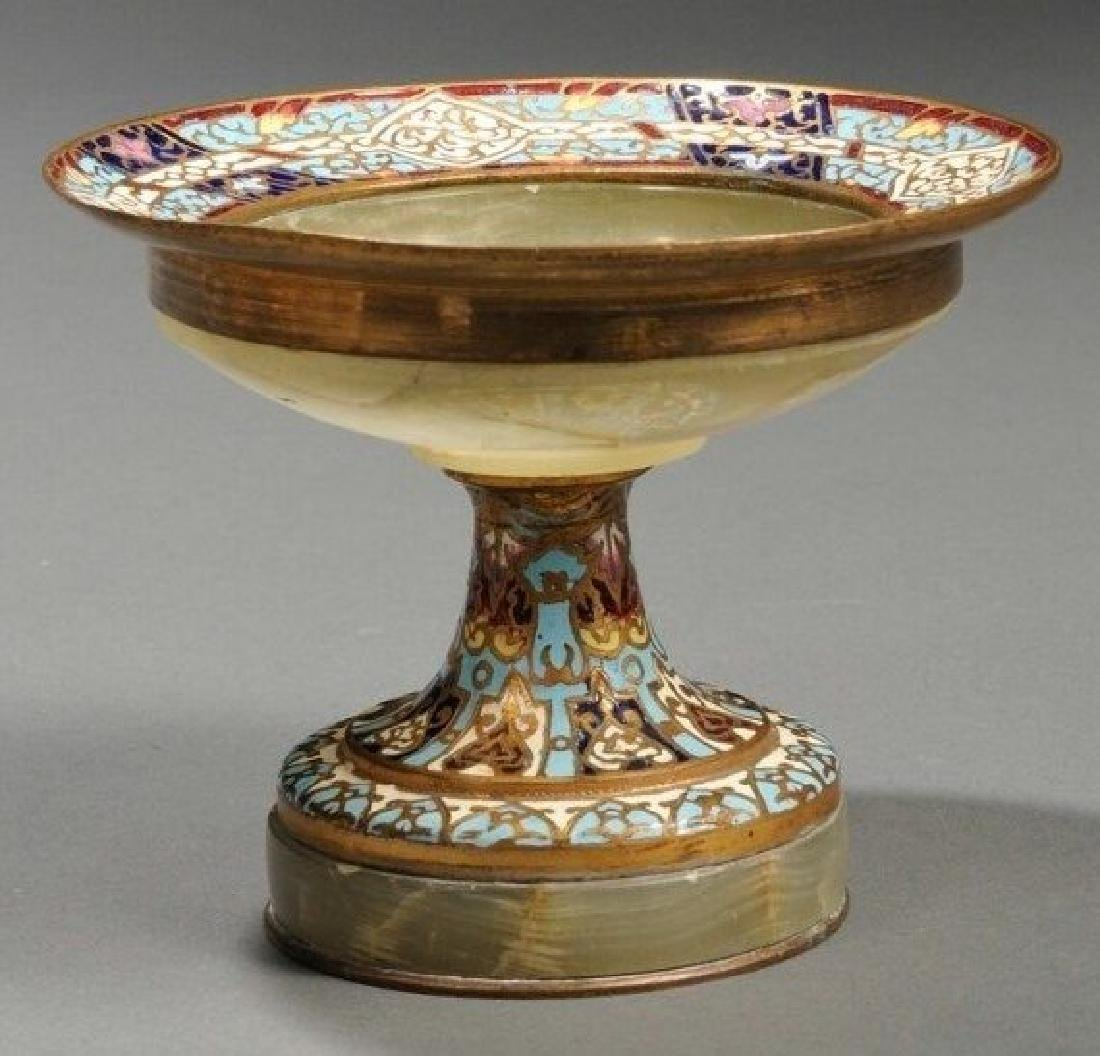 19th C. French Onyx & Champleve Tazza