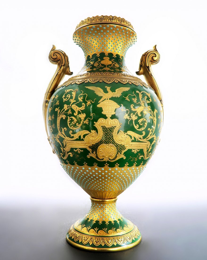 "18th C. Coal-port Jeweled Vase ""Chicago Exhibition"""