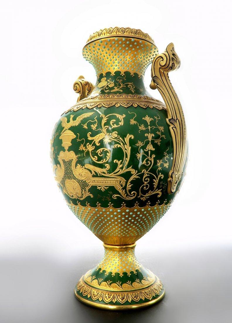 "18th C. Coal-port Jeweled Vase ""Chicago Exhibition"" - 2"