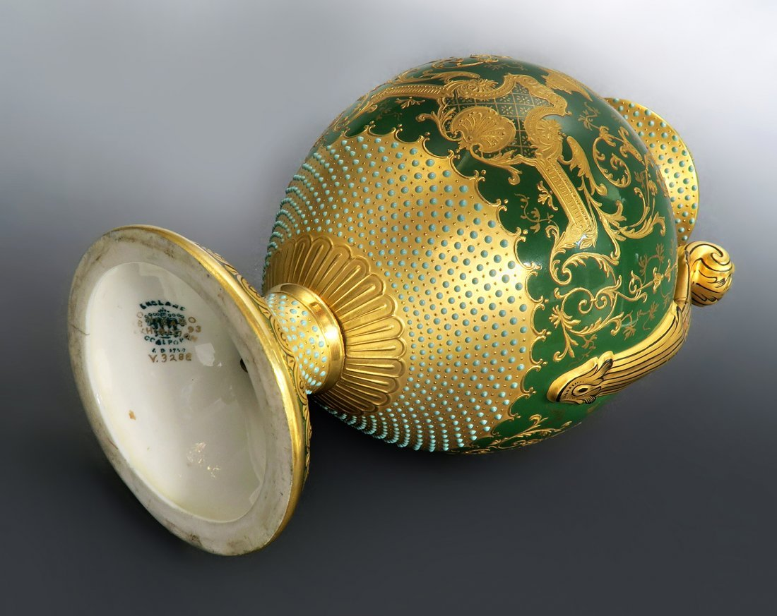 "18th C. Coal-port Jeweled Vase ""Chicago Exhibition"" - 3"