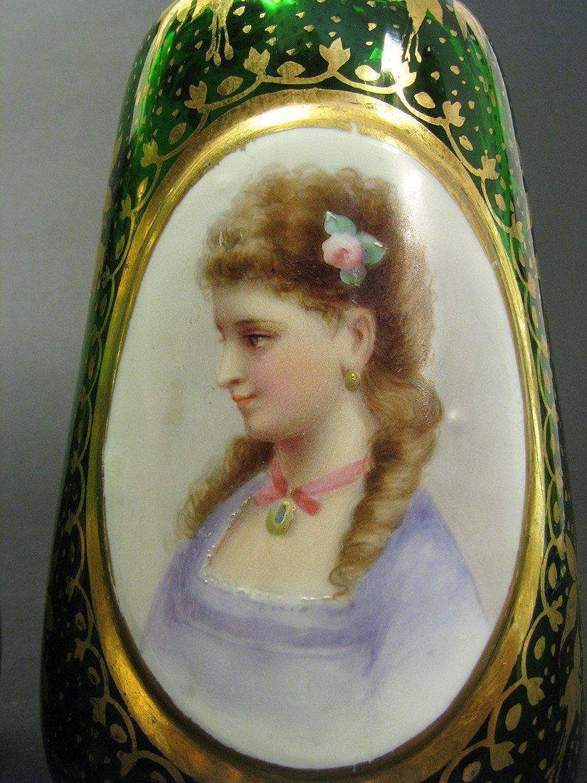 A Pair of 19th C. Bohemian Portrait Vases - 5