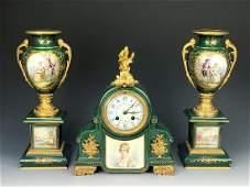 19th C. French Bronze & Sevres Porcelain Clock Set