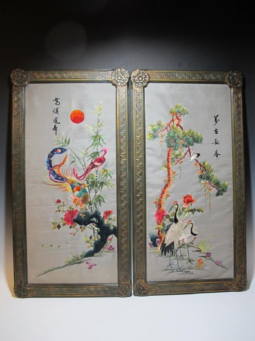 Embroidered Pair of Ancient Chinese Panels