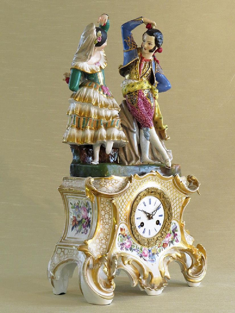 Antique French Porcelain Clock - 3