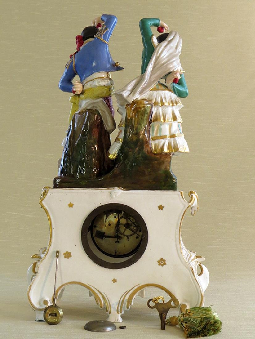 Antique French Porcelain Clock - 7