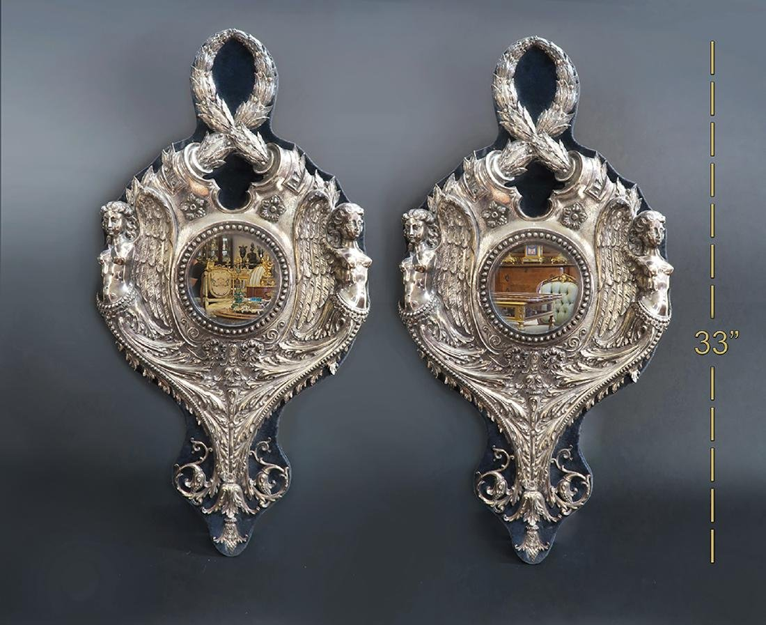 A Pair Of Figural Sterling Silver Wall Sconces/Mirrors