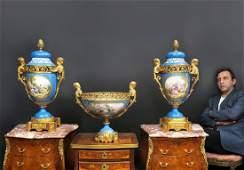 19th C. Large French Sevres Garniture Set
