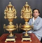 A Pair of 19th C Louis XV Style large Figural Urns