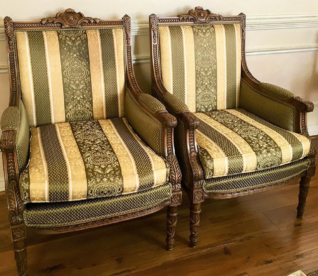 """Pair of Beautifully Carved """"Bergere"""" Armchairs"""
