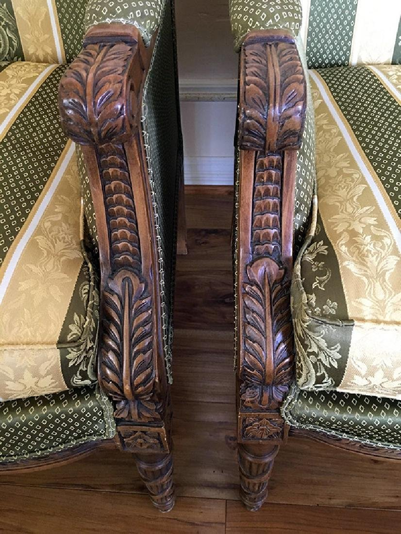 "Pair of Beautifully Carved ""Bergere"" Armchairs - 5"