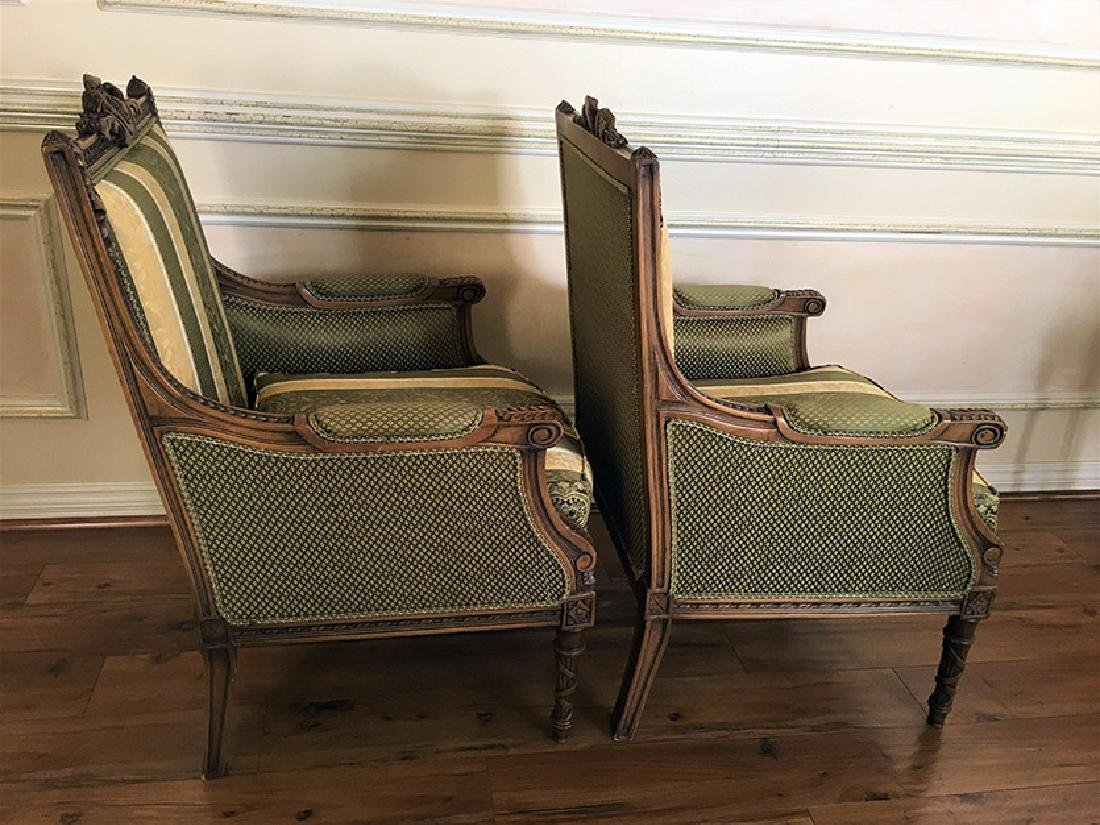 "Pair of Beautifully Carved ""Bergere"" Armchairs - 9"