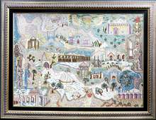 """A Large Framed """"Iran Map"""" Persian Rug from Tabriz"""
