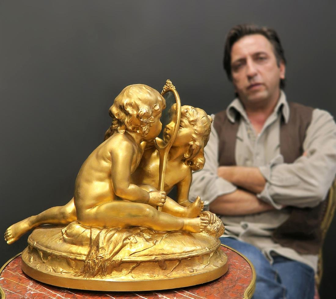 "Large French Brass Sculpture Signed ""Muhlenbeck"""
