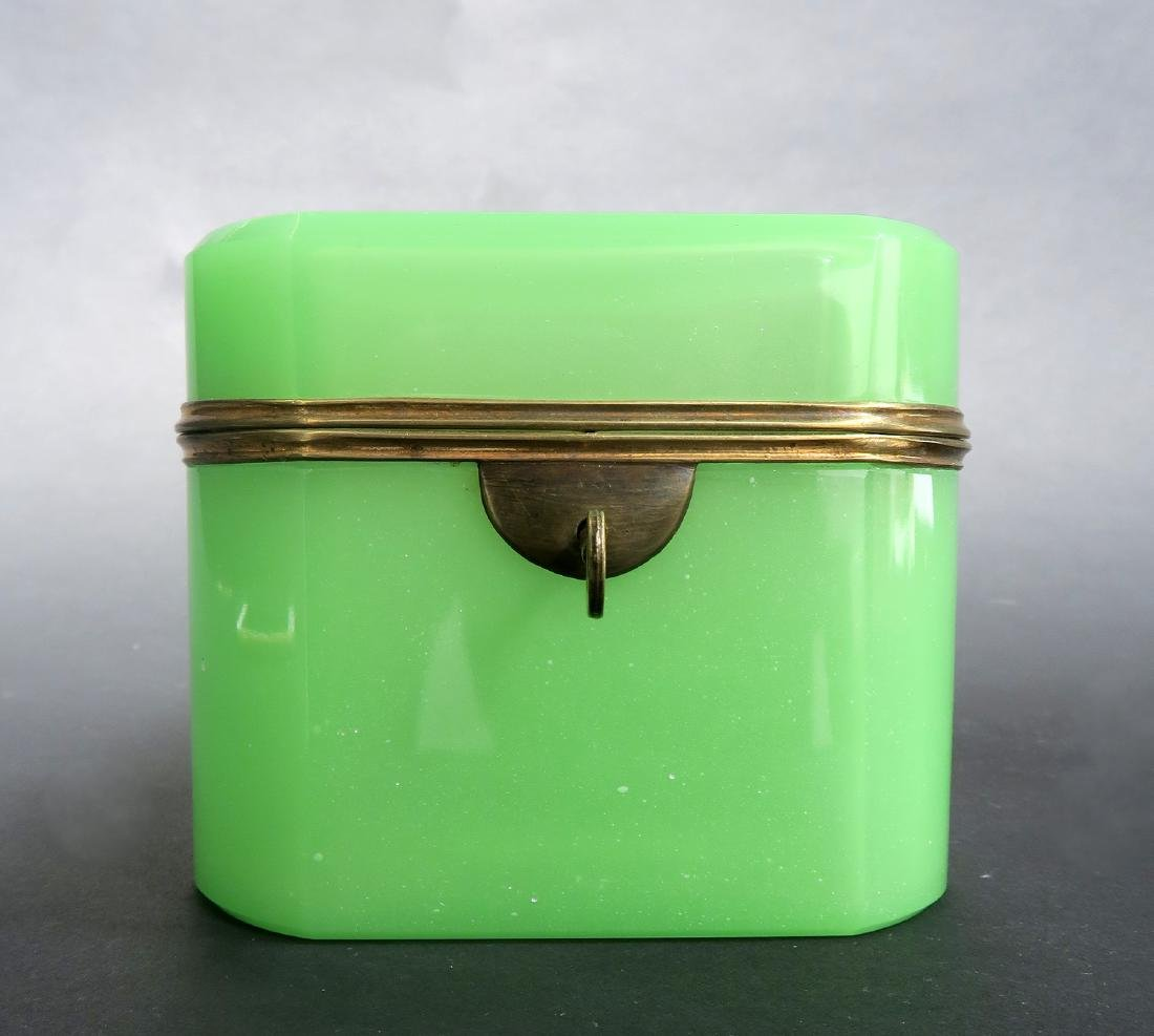 19th C. Green Opaline Box With Key - 2