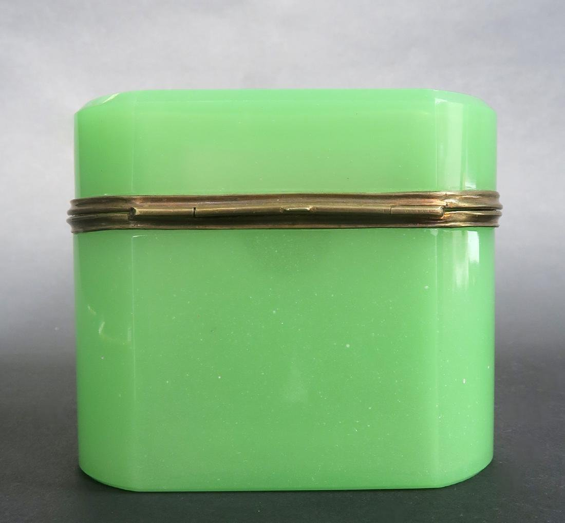19th C. Green Opaline Box With Key - 4