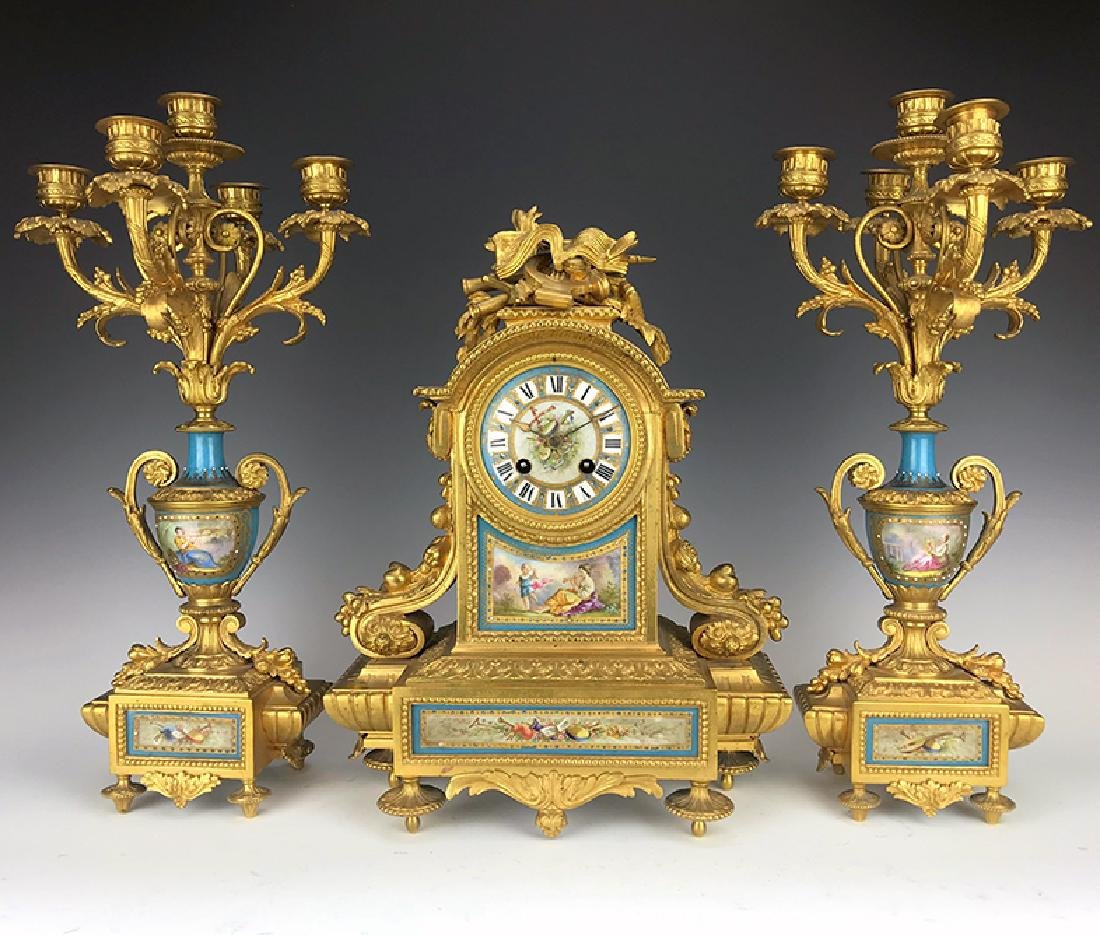 19 C. French Garniture Gilt Bronze Clock Set