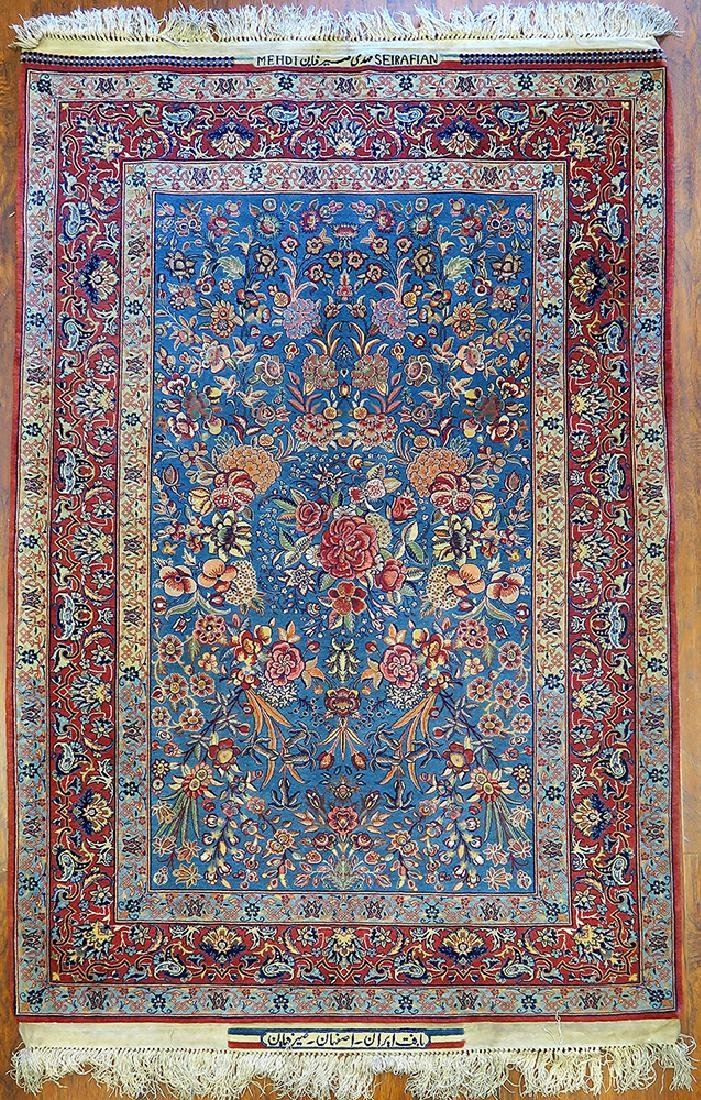 "Isfahan Silk Warp Authentic ""Seirafian"" Persian Rug"