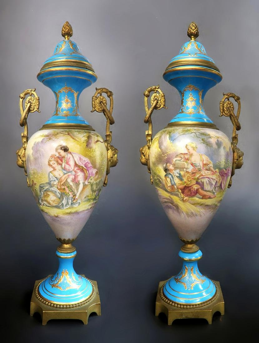Pair Of 19th C. French Blue Sevres Urns