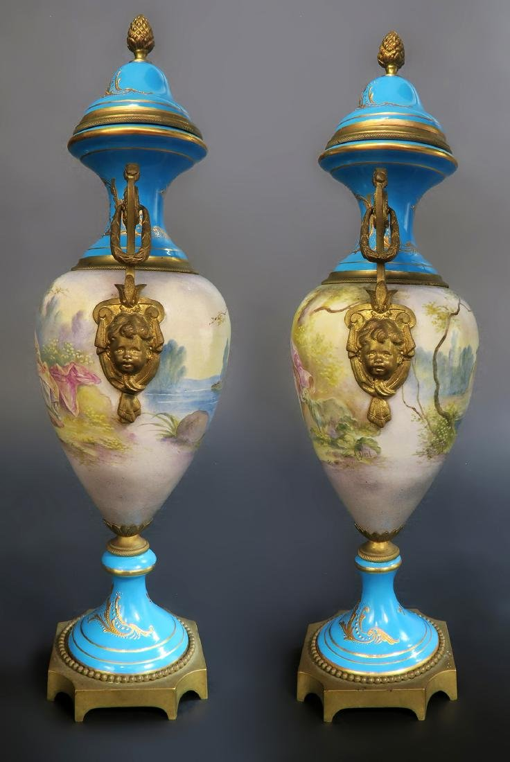 Pair Of 19th C. French Blue Sevres Urns - 4