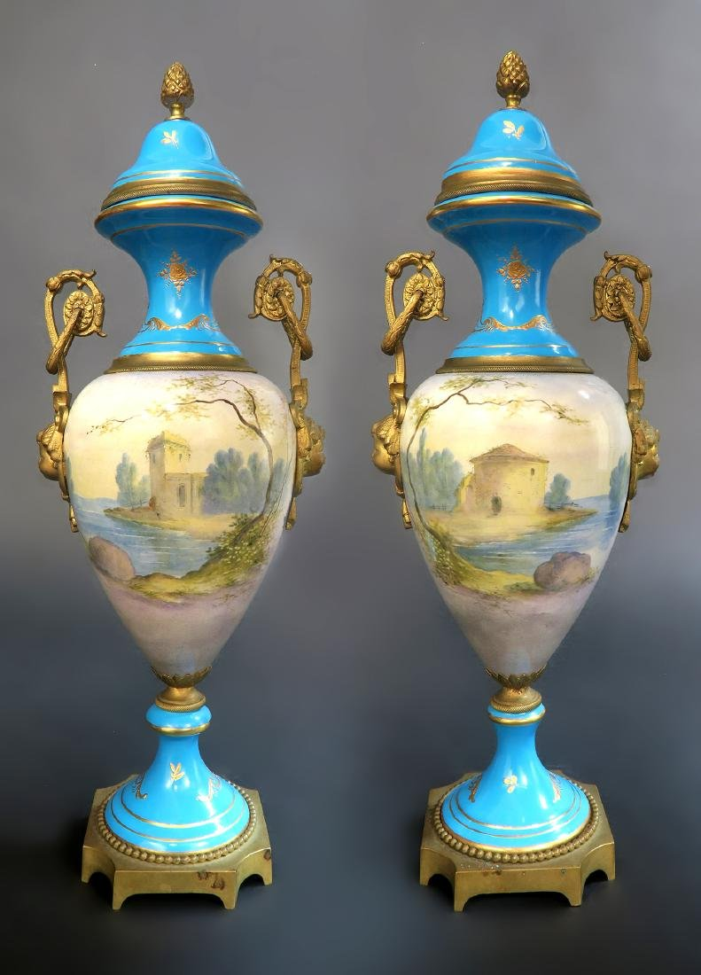 Pair Of 19th C. French Blue Sevres Urns - 5