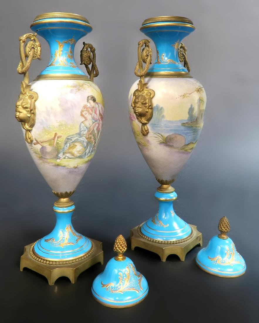 Pair Of 19th C. French Blue Sevres Urns - 6