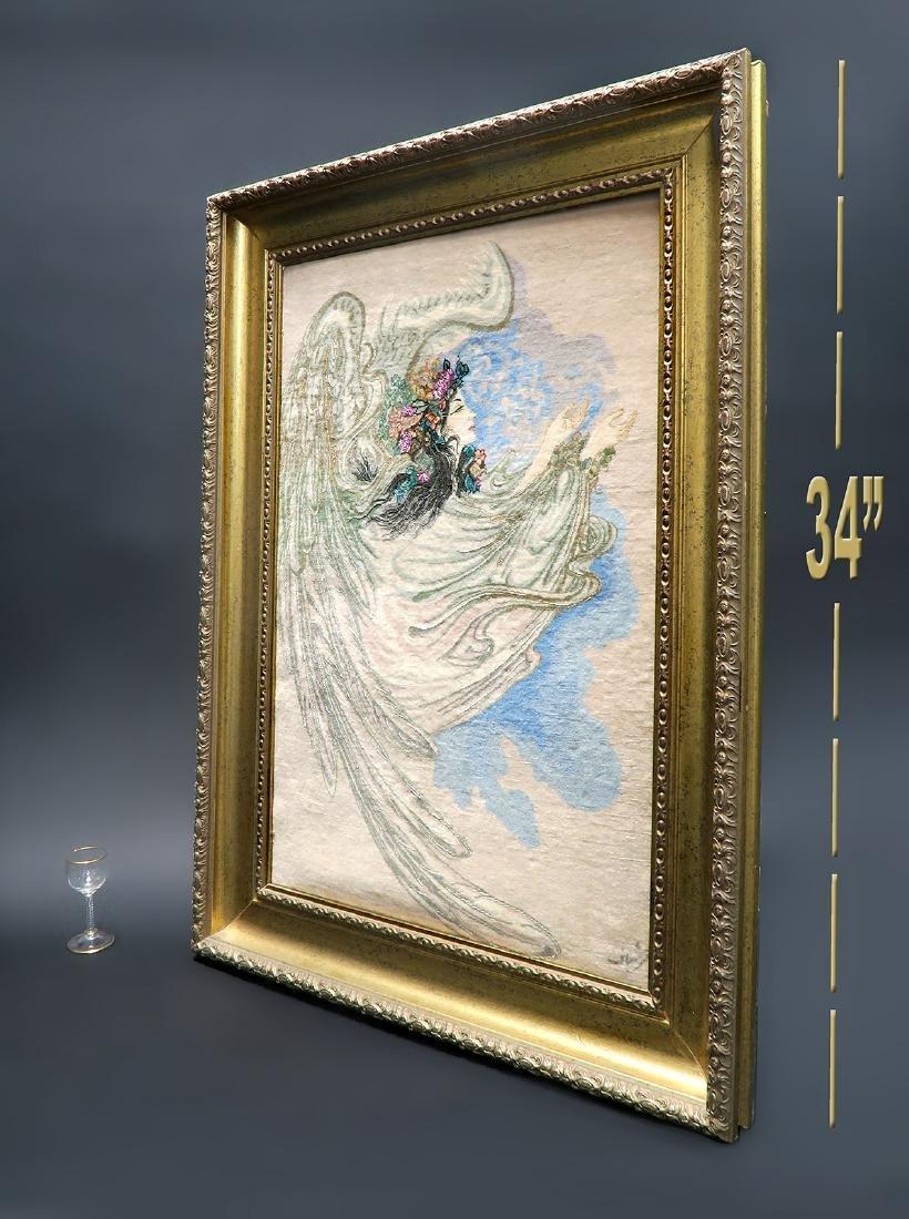 A Framed Tabriz Pictorial Persian Rug (Farshbaf Signed) - 3
