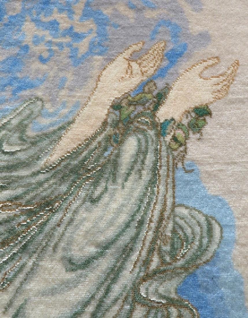 A Framed Tabriz Pictorial Persian Rug (Farshbaf Signed) - 5