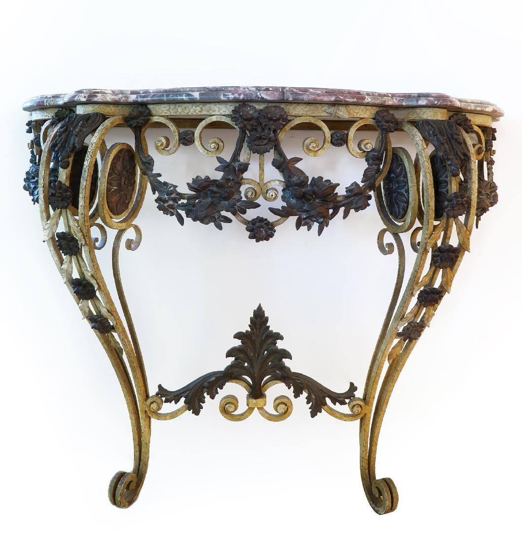 French Bronze Wall Console Table