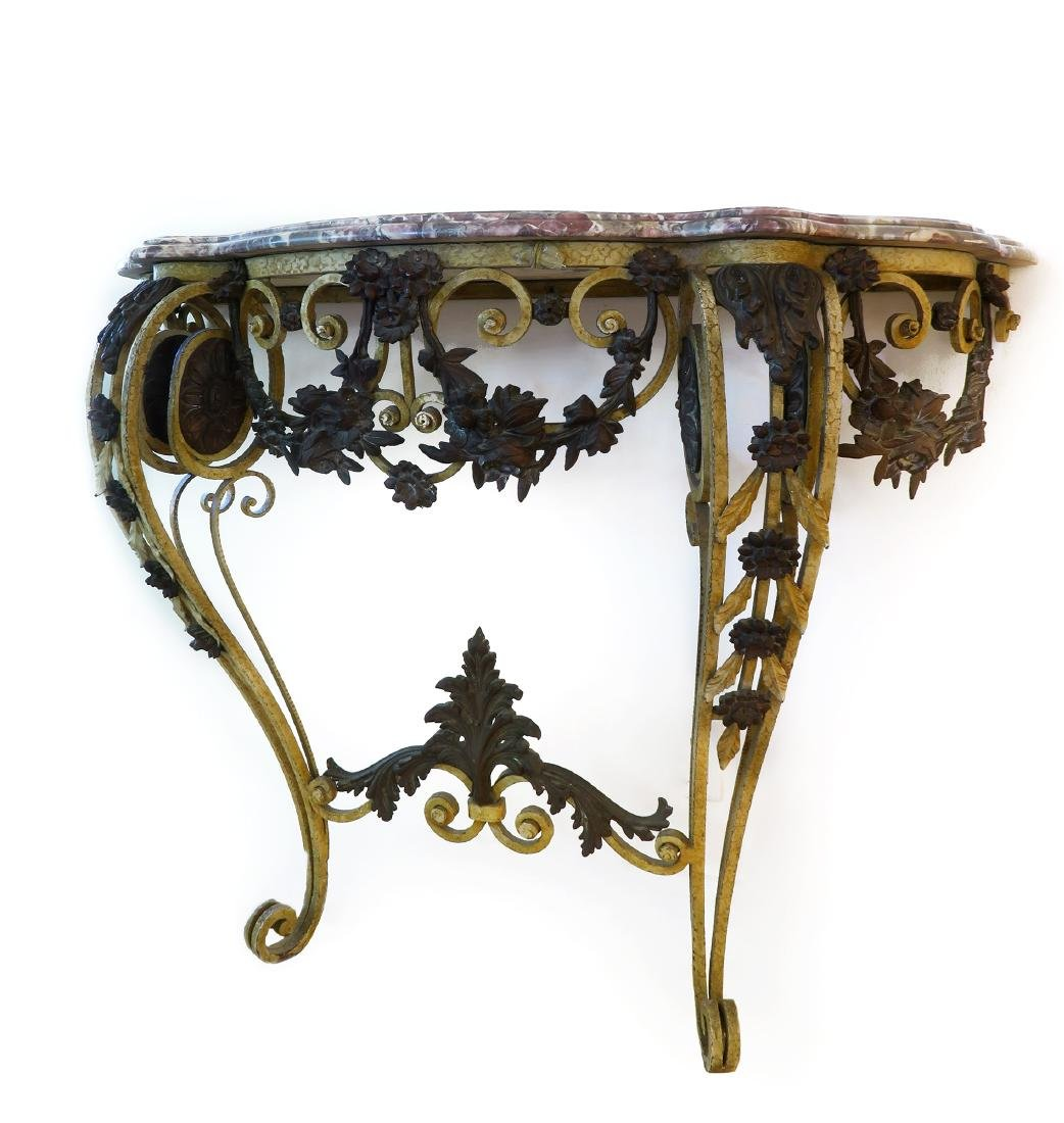 French Bronze Wall Console Table - 2