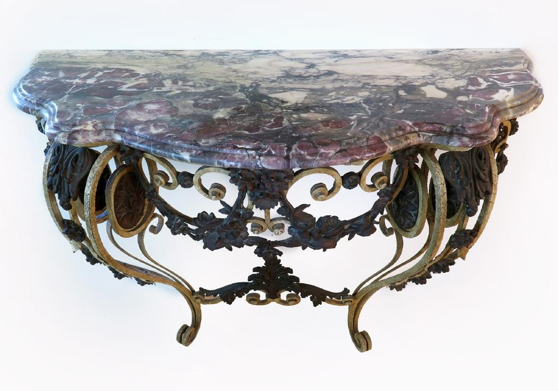 French Bronze Wall Console Table - 3