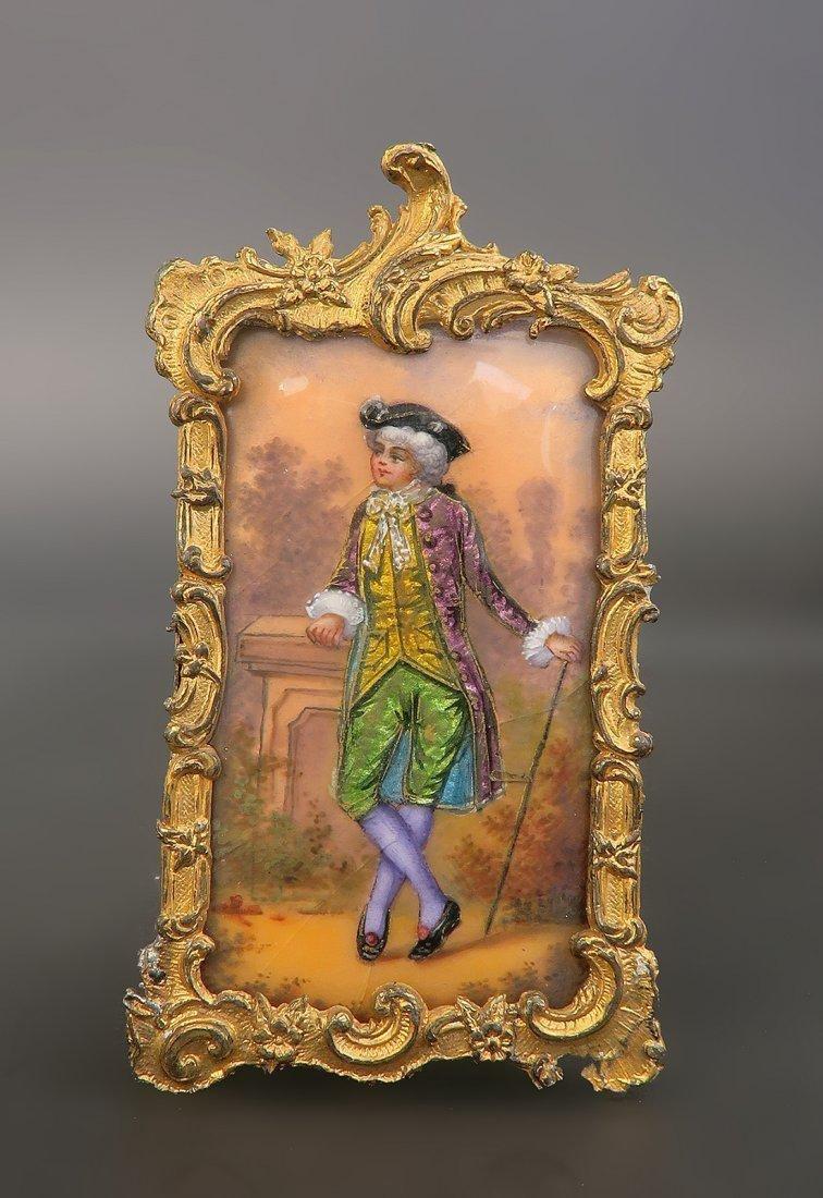 French Enamel on Copper Bronze Framed Portrait