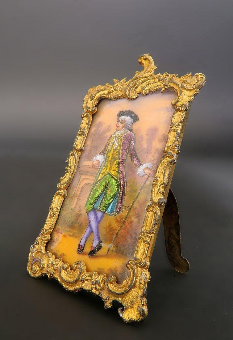French Enamel on Copper Bronze Framed Portrait - 2