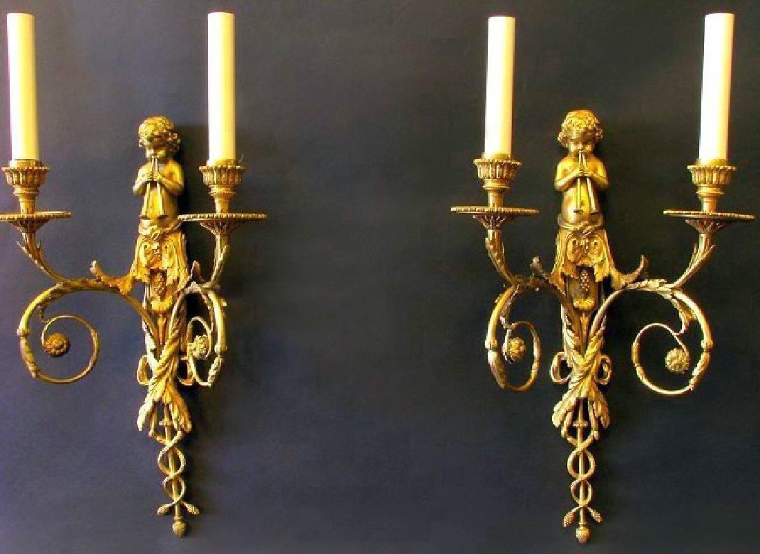 Very Fine 19th C. Pair of Gilt Bronze Figural Scones