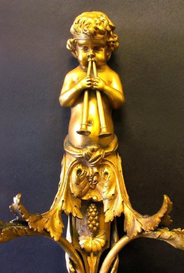 Very Fine 19th C. Pair of Gilt Bronze Figural Scones - 3