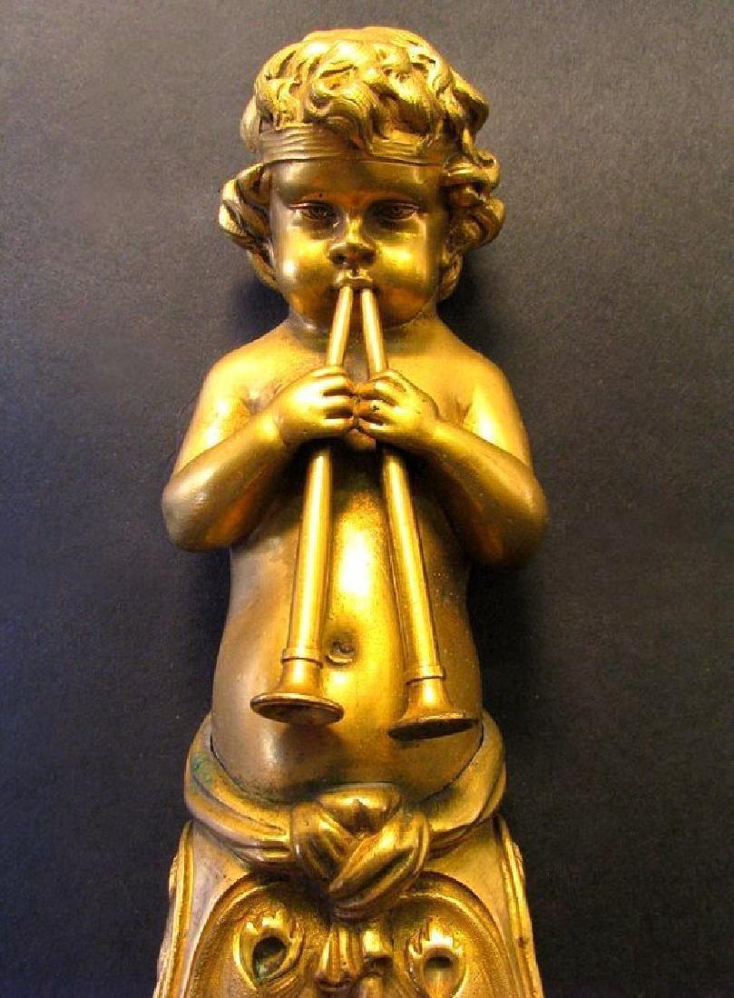 Very Fine 19th C. Pair of Gilt Bronze Figural Scones - 4