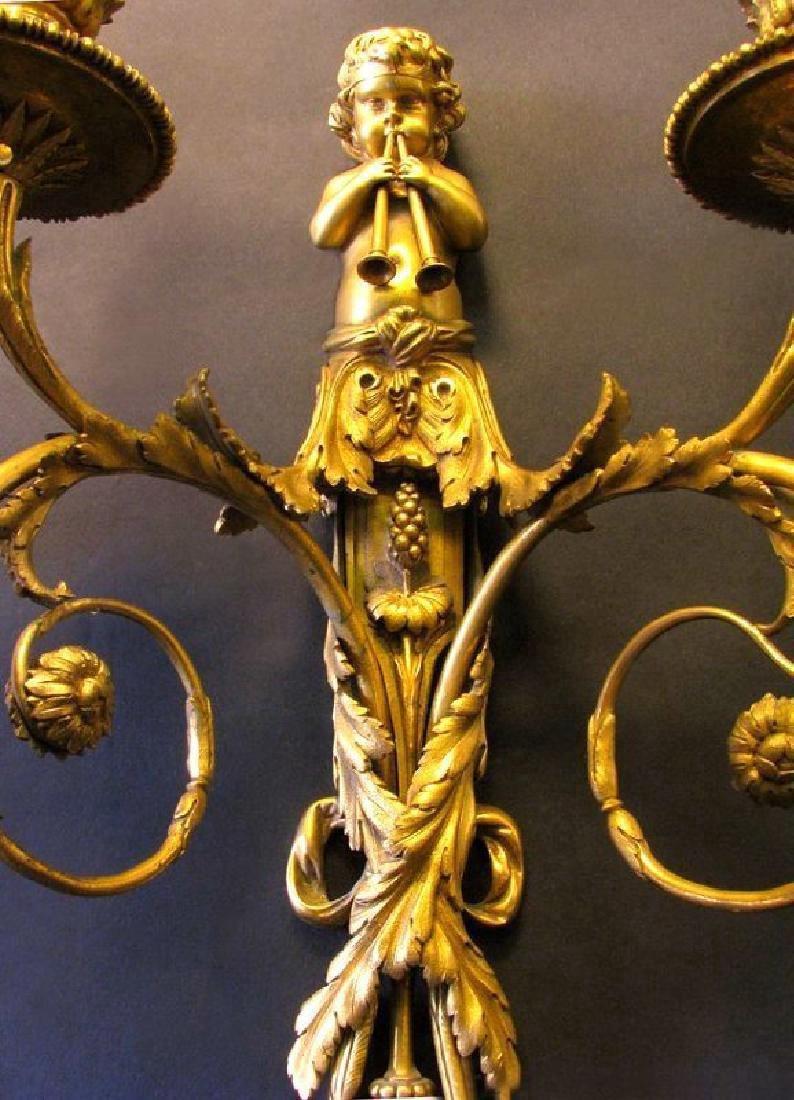 Very Fine 19th C. Pair of Gilt Bronze Figural Scones - 5