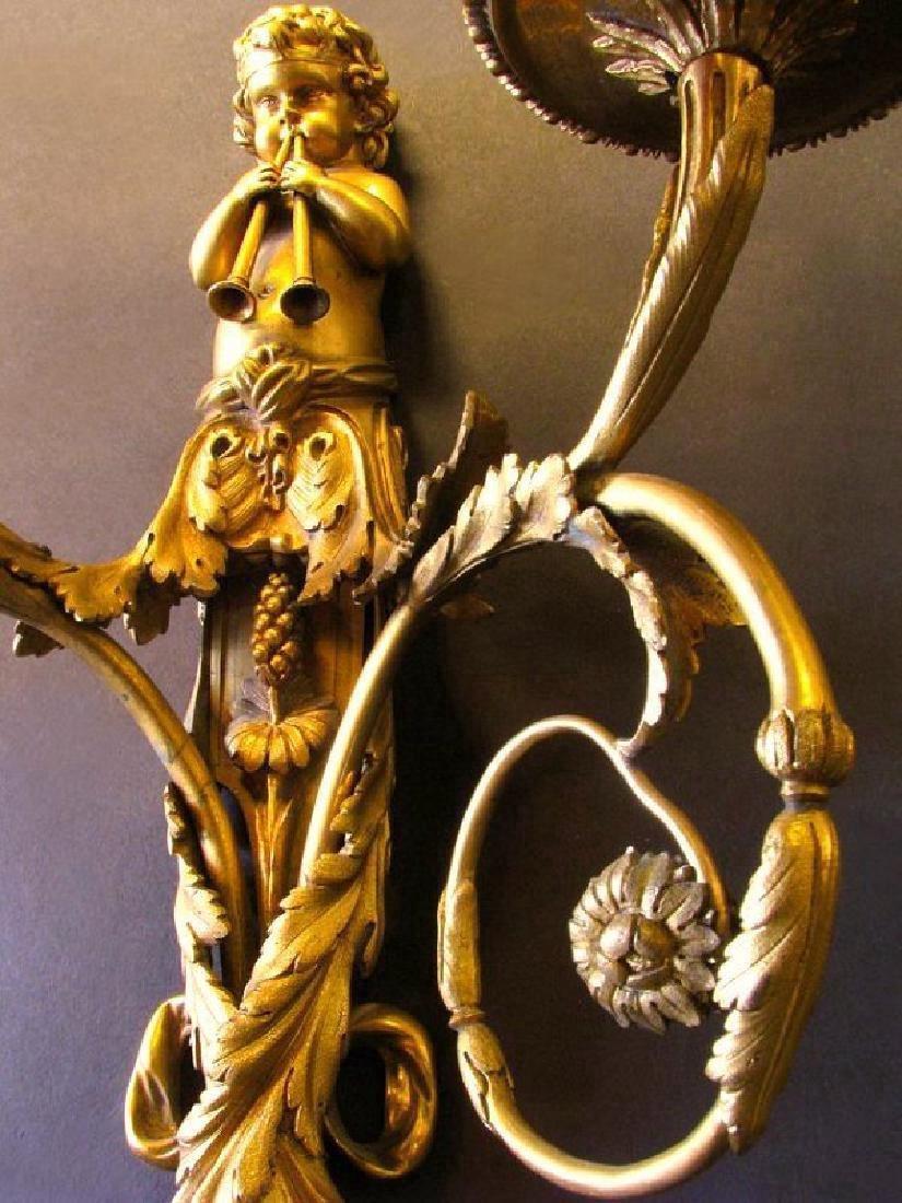Very Fine 19th C. Pair of Gilt Bronze Figural Scones - 7
