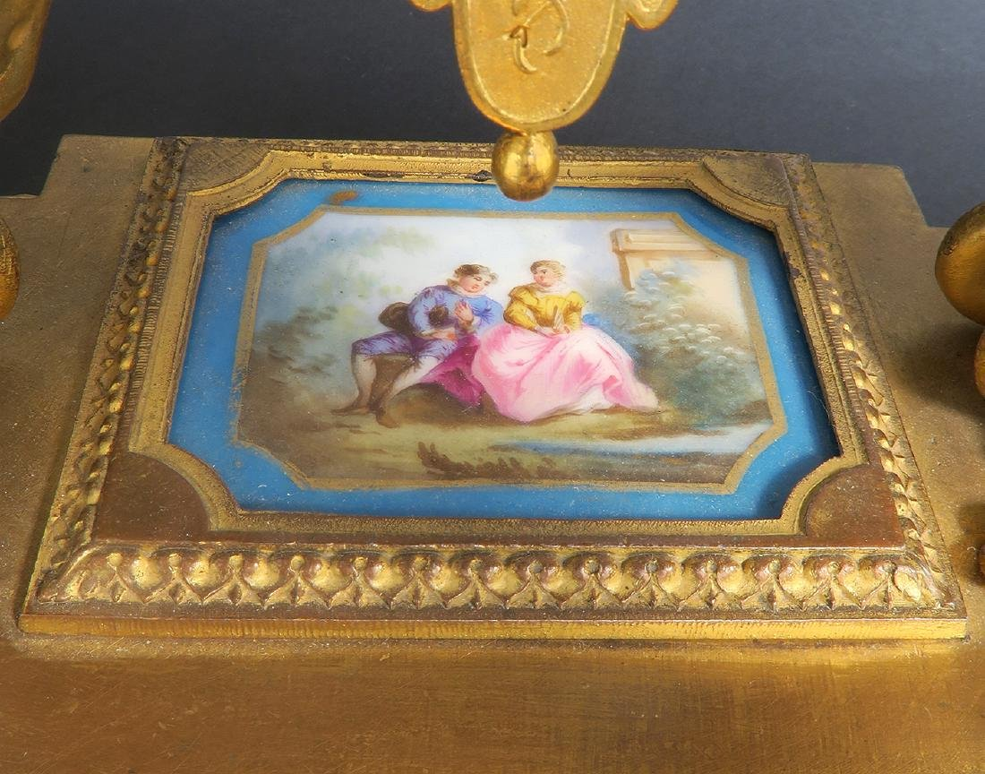 19th C. French P. H. Mourey Sevres Clock Set - 10