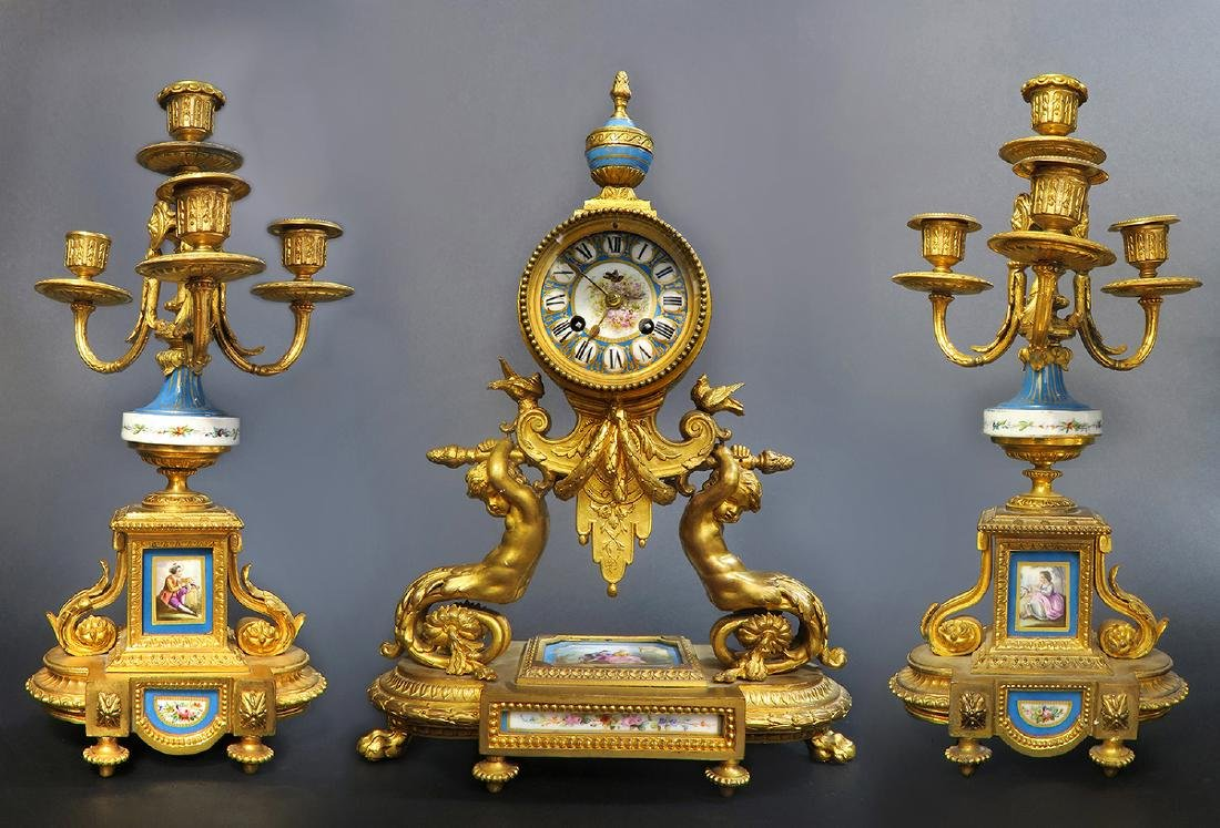 19th C. French P. H. Mourey Sevres Clock Set