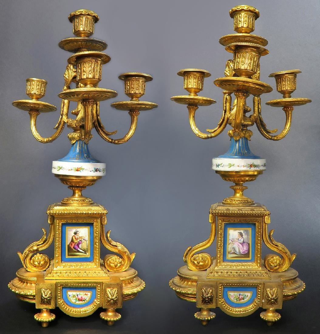19th C. French P. H. Mourey Sevres Clock Set - 2