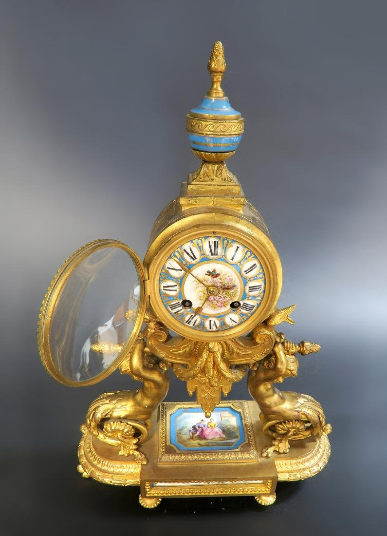 19th C. French P. H. Mourey Sevres Clock Set - 5