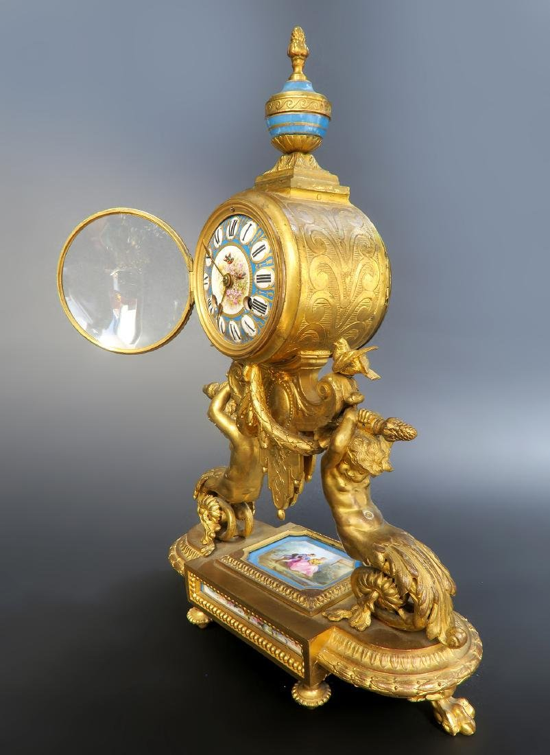 19th C. French P. H. Mourey Sevres Clock Set - 6