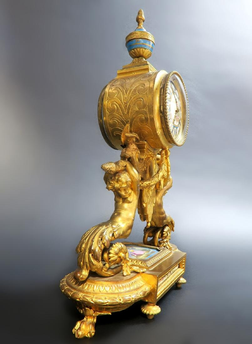 19th C. French P. H. Mourey Sevres Clock Set - 7