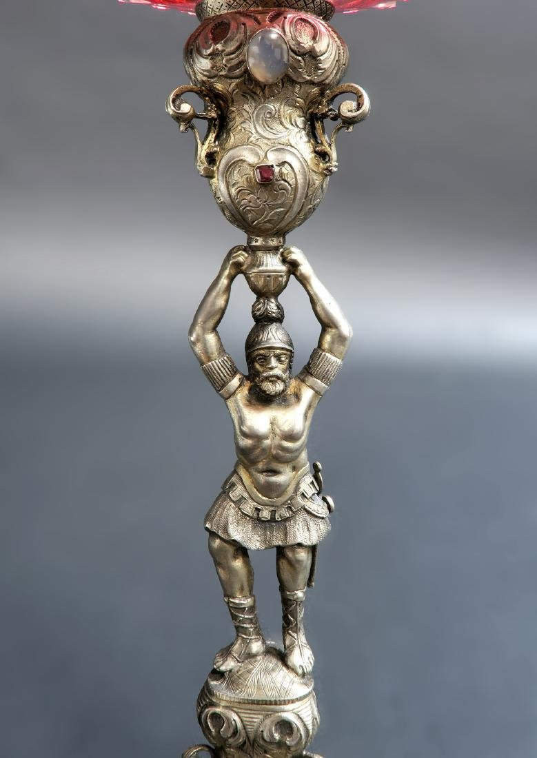 Imperial Russian Silver/Diamond Cut Crystal Centerpiece - 7